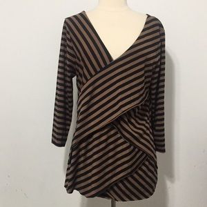 🌹VERVE AMI Brown Black stripes V-Neck Blouse XL🌹